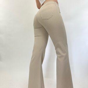 Vintage Y2K Cream Pinstripe Low Rise Trousers
